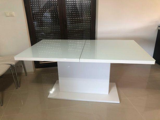 Stół Rozkładany Biały Połysk Blat Szkło plus 4 Krzesła
