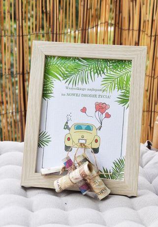 Kartka ślubna ramka pary młodej życzenia dla nowożeńców z pieniędzmi