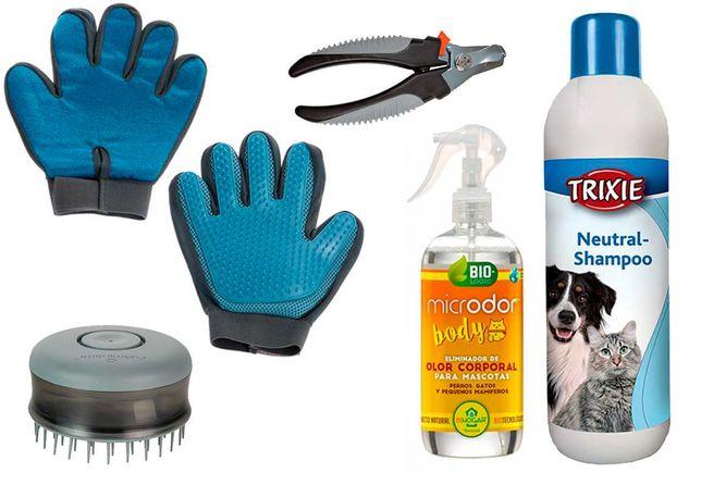 Luva, Escova, Alicate, Perfume e Shampoo para cão e gato - Kit (Novo)