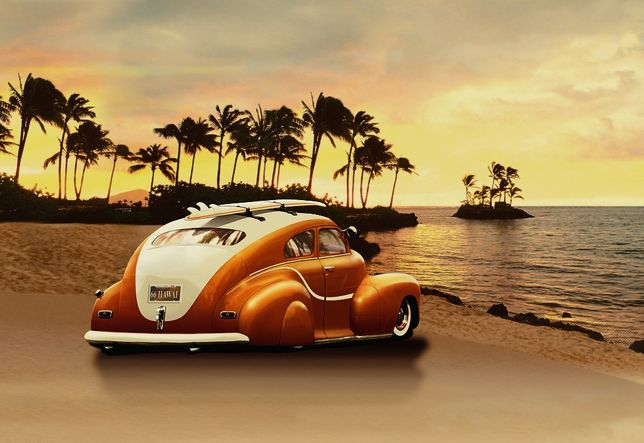 fototapeta filzelinowa 104x70,5cm plaża samochód