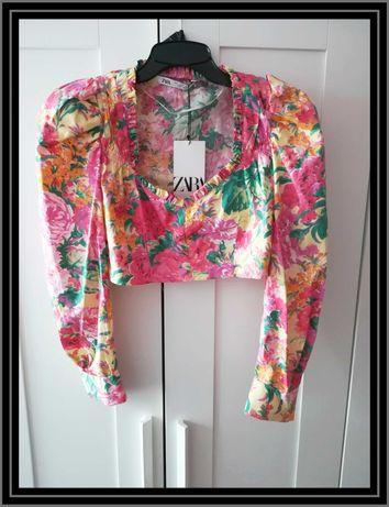Bluzka Zara XS S nowa z metką kwiaty bufki crop top