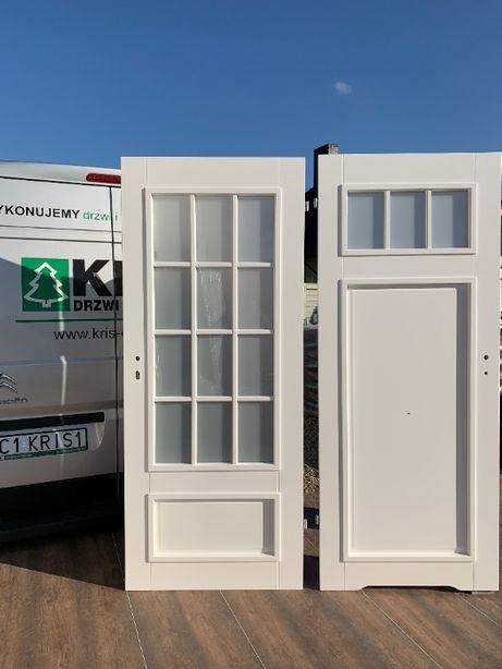 Drzwi wewnętrzne białe francuskie szprosy