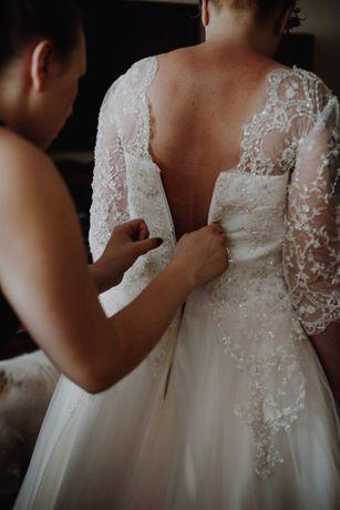 OKAZJA ! Suknia ślubna 42/44 ecru/cielisty GRATISY