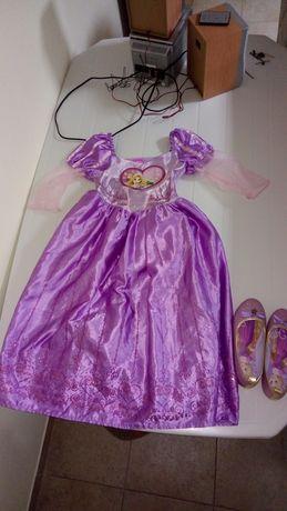Vestido princesa Disney Rapunzel 5/6 anos c sapatos