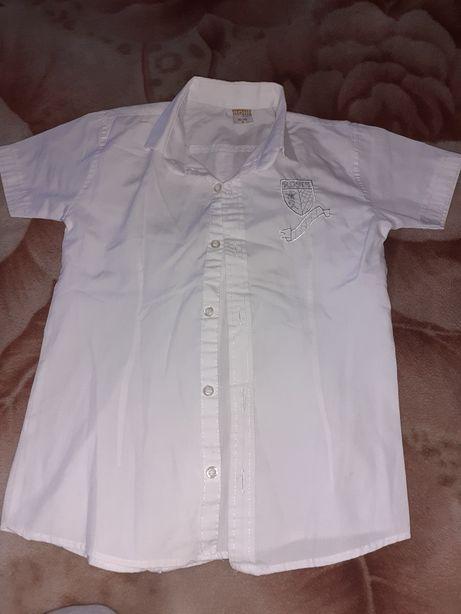 Рубашка,белая с коротким рукавом 122-128