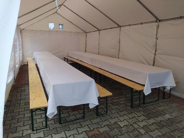 Wynajem namiotów z ławkami i stołami chrzciny urodzin wesele poprawiny