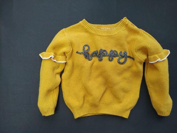 Primark musztardowy sweter sweterek happy 86cm
