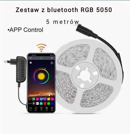 Zestaw oświetleniowy taśma LED 5050 RGB 5 metrów sterownik bluetooth