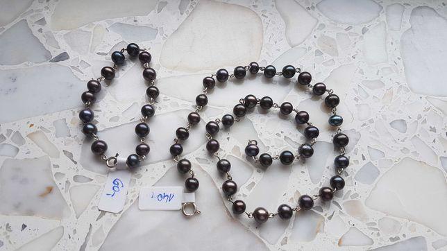 Naturalne perły komplet bransoletka i naszyjnik czarne
