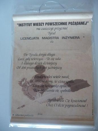 Tytuł licencjata magistra inżyniera - nowa tabliczka, śmieszny gadżet