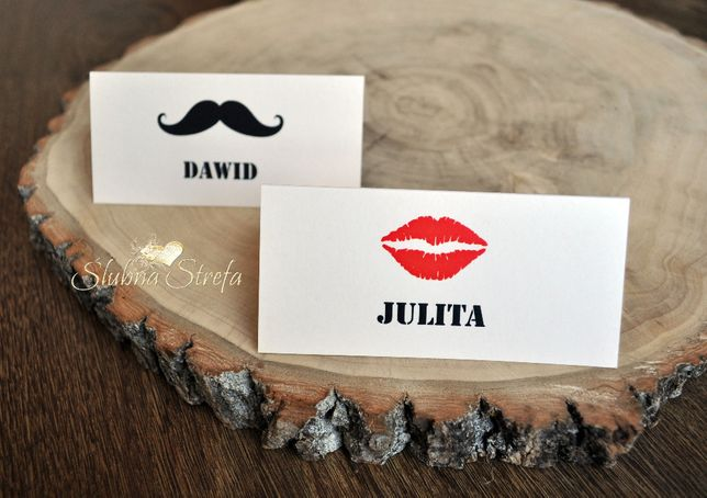 winietki ślub wesele usta wąsy winietki na wesele winietka ślubna