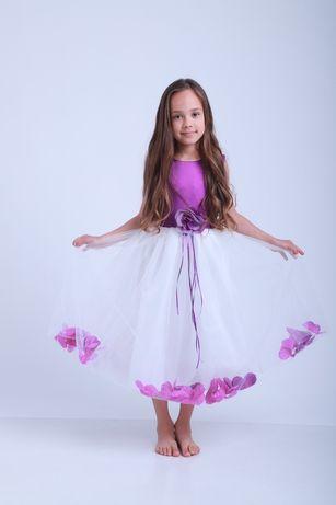 Фиолетовое платье с лепестками на утренник, нарядное, выпускной