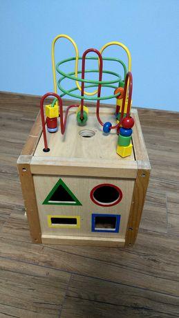Zabawka sensoryczna, skrzynka drewniana, układanka edukacyjna