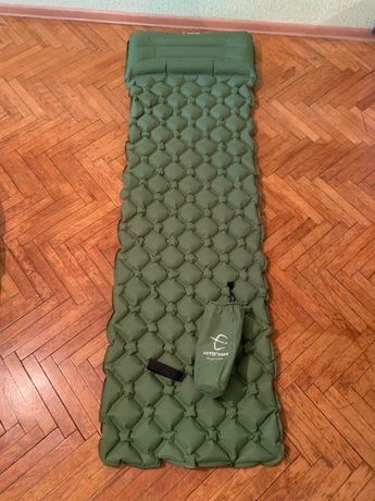 надувной коврик (каремат) матрас туристический с подушкой в палатку