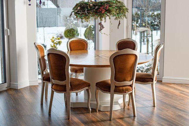 Duży okrągły dębowy stoł średnica 180 róża wiatrów jadalny bankietowy