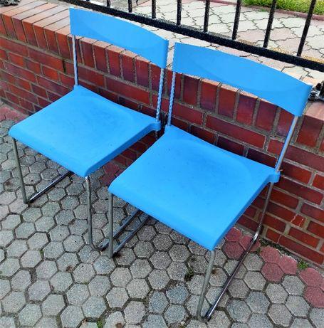 Krzesło Krzesła 2 szt Niebieskie Balkonowe Tarasowe