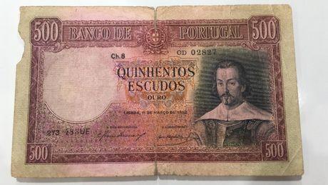 Nota 500 escudos Portugal 1952