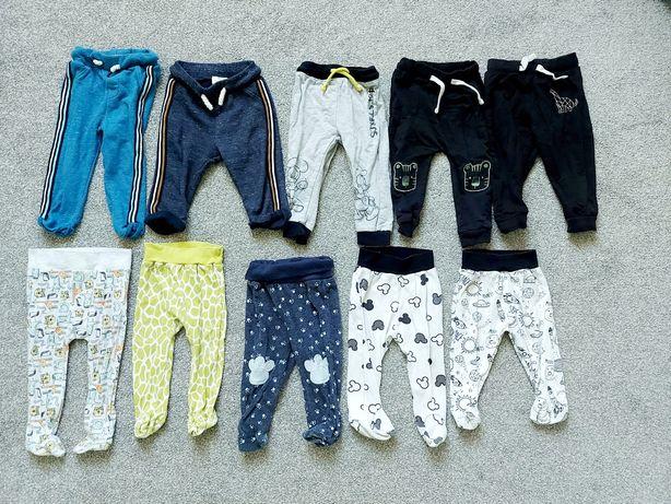 Zestaw 10 długich spodni dla niemowląt 74 80 i 86 dla chłopca