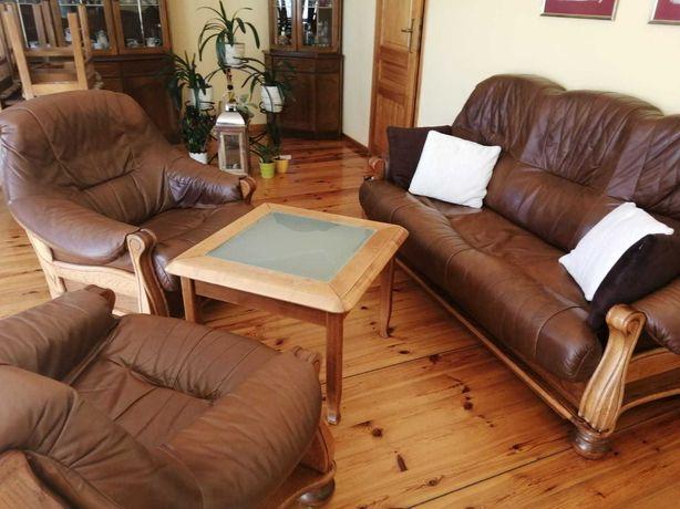 Wypoczynek skórzany (kanapa + 2 fotele)