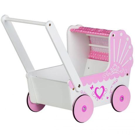 Drewniany wózek dla lalek z daszkiem