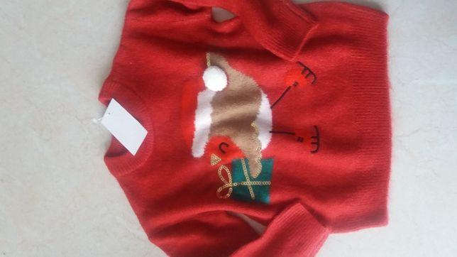 Nowy świąteczny sweterek ptaszek cekiny C&A 104 cm