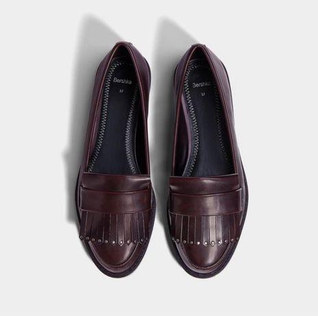 Bershka burgundy loafers, лоферы/туфли Бершка