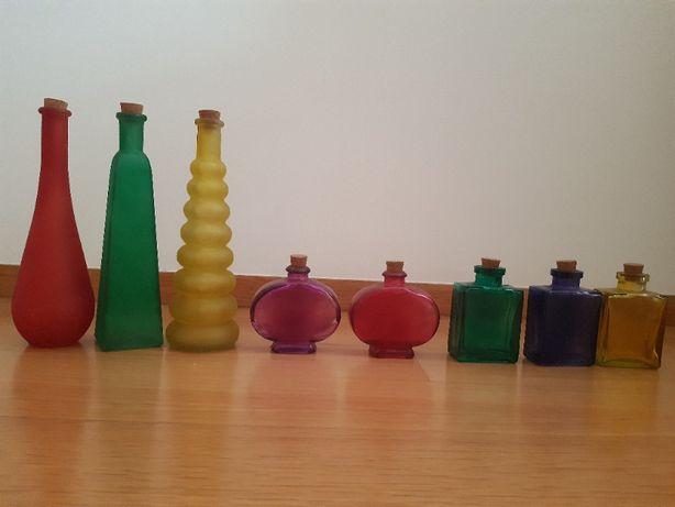 Frascos de vidro coloridos para decoração (bom estado)