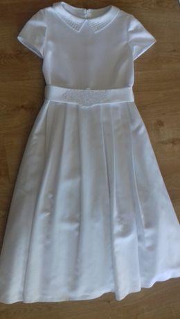 Sukienka komunijna wraz z bolerkiem, torebką i butami.