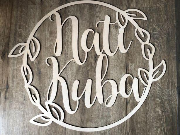 Obręcz ślubna 60 cm Nati Kuba imiona na kole
