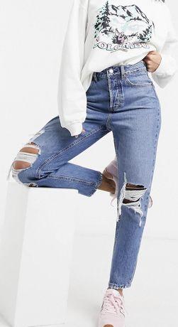 Mom fit рваные джинсы zara levis stradivarius