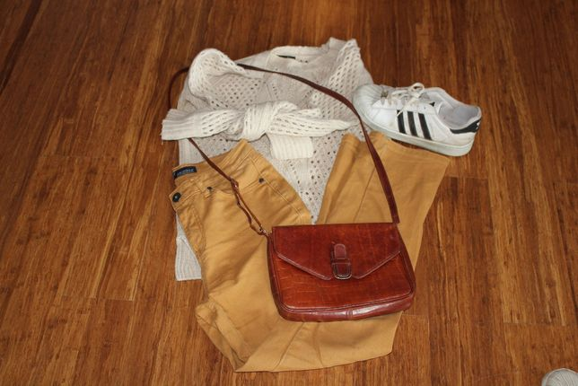 musztardowe mum jeans, wysoki stan vintage Arizona