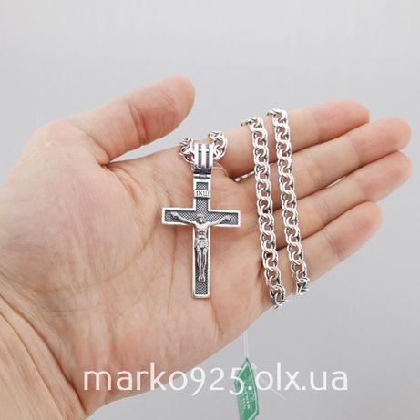 Серебряная цепочка мужская и крестик. Цепь и крест мужчине серебро 925