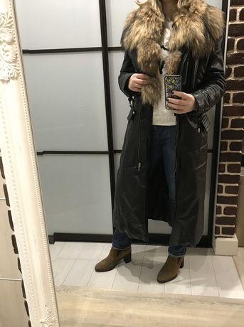 Продаю стильное кожаное пальто с мехом. Италия. Еврозима.