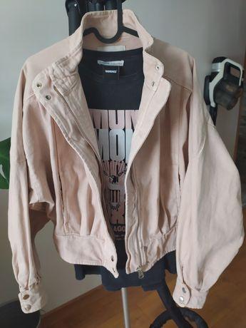 Kurtka jeans ramoneska retro pudrowy róż Pull & Bear M
