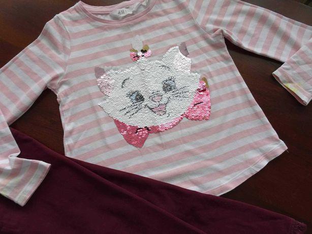 H&M bluzka bluzeczka kotek cekiny legginsy 104/110