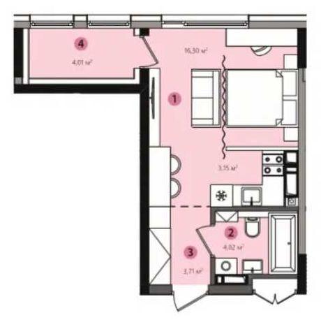 Продажа 1к-студии 31 м2, ЖК Lucky Land, дом 3, метро 10 мин. езды