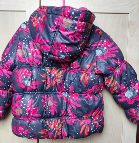 Firmowa zimowa pikowana kurtka dziewczęca rozmiar 92, kwiaty