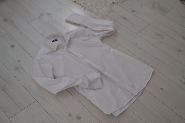 Biała męska koszula długi rękaw bawełna 41/188 zakryte guziki slim fit