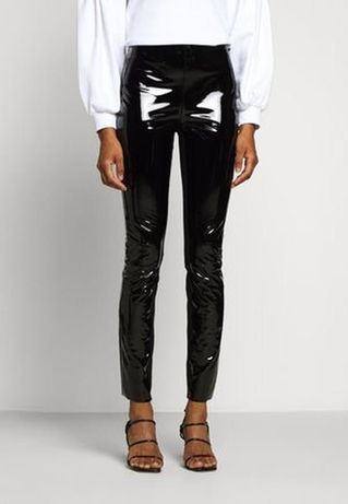 Лаковые винилловые чёрные джинсы лосины брюки