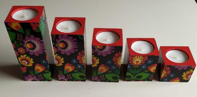 Świeczniki drewniane z kwiatami, folk, czarne, decoupage, łowicki wzór
