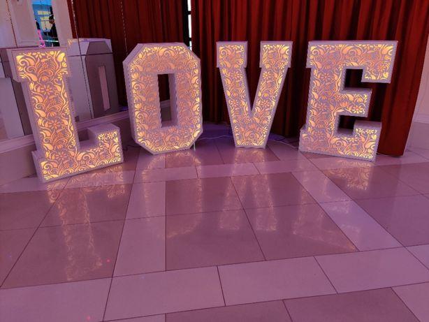 LOVE napis ażurowy podświetlany kolory RGB na Wasze wesele! 120cm