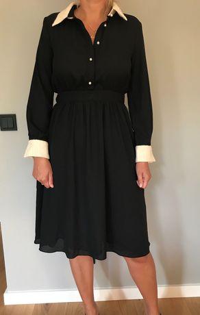 Nowa sukienka Zara, czarna z białymi mankietami/ kołnierzykiem, r. M