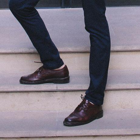 Бордові броги шкіряні чоловічі туфлі / бордовые кожаные мужские туфли