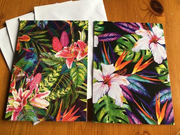 Kartki pocztowe rozkładane duże 8szt. 2 wzory kwiaty tropikalne