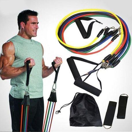 Многофункциональный комплект трубчатых эспандеров для фитнеса в мешочк