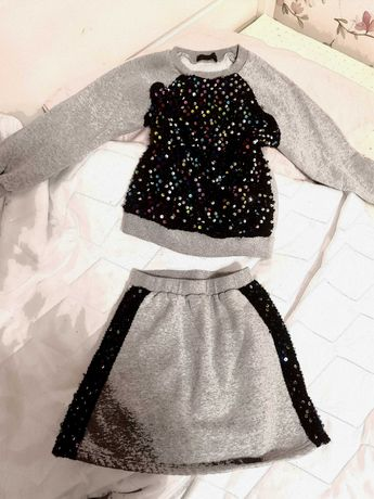 Piękny komplet, bluza spódniczka jak nowy! Cekiny 134