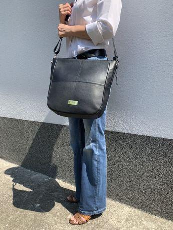 Skórzana torebka Ochnik czarna