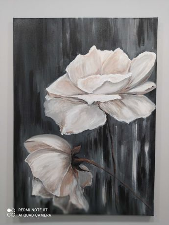 kremowe róże akryl 50x70 werniks