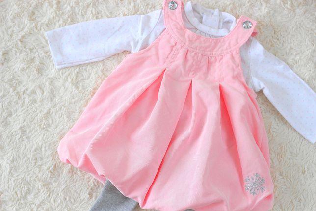 C&A sukienka bluzka rajstopy Śnieżynka Śliczna 68 komplet