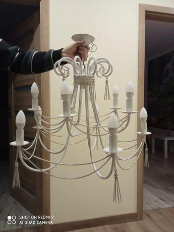 Lampa żyrandol biały metalowy 10 ramienny